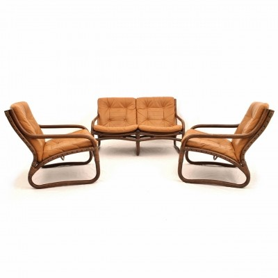 Bamboo seating group with leather upholstery from the 70's