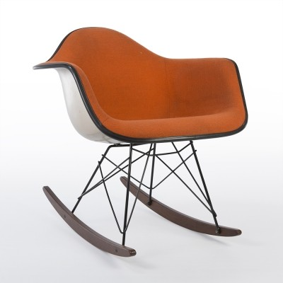 Original Alexander Girard Upholstered Orange Eames RAR Rocking Arm Shell Chair