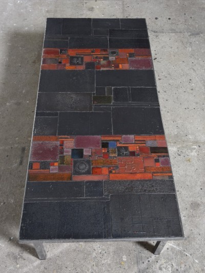 Pia Manu Low Rectangle Art Ceramic Tile Table, 1960s