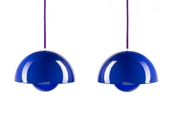 Set of 2 Flower Pot hanging lamps from the sixties by Verner Panton for Louis Poulsen