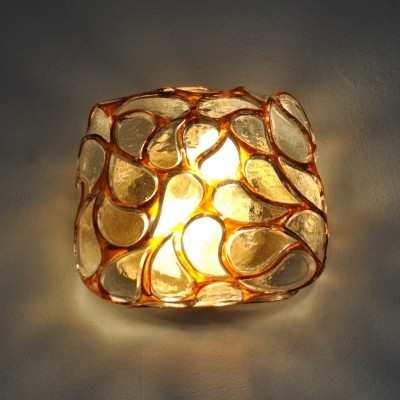 Glass wall or ceiling lamp from the sixties