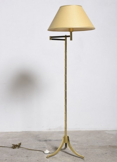 Tripod Faux Bamboo Brass Adjustable Floor Lamp