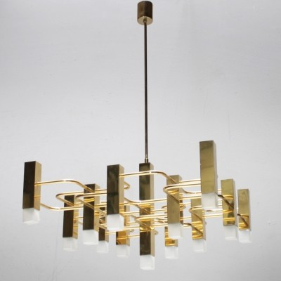 Large Brass Chandelier by Sciolari for Boulanger