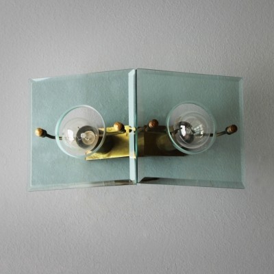 Italian Brass & Cut-Glass Sconce by Arredoluce