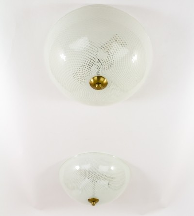 Set of 2 ceiling lamps from the fifties by unknown designer for Venini