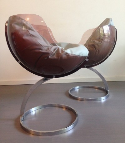 Pair of Sphere arm chairs by Boris Tabacoff for Mobilier Modulaire Moderne, 1970s