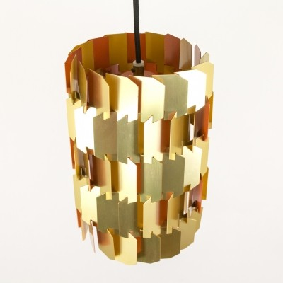 Gold & Orange Facet pendant by Louis Weisdorf for Lyfa, 1960s