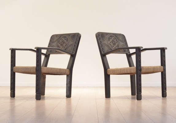 Set of 2 arm chairs from the forties by unknown designer for unknown producer