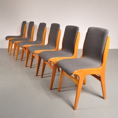 Set of 6 dinner chairs from the fifties by Louis van Teeffelen for Wébé