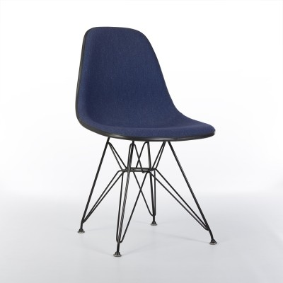 Original Alexander Girard Upholstered 'Speckled' Blue Eames DSR Side Shell Chair
