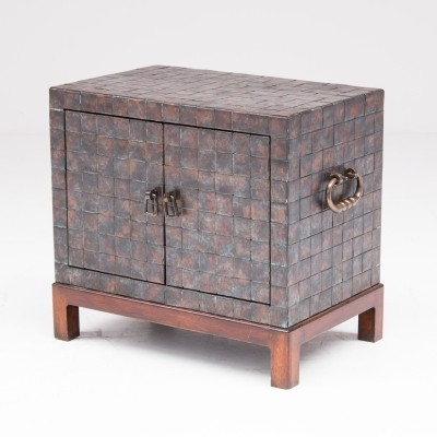 Exceptional copper patchwork cabinet, French 80's