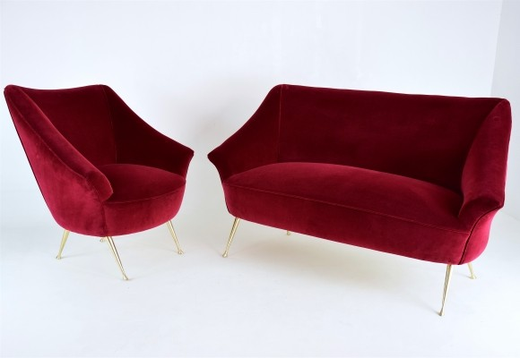 Vintage Italian Red Two-Seater Sofa & Armchair Set, 1950s