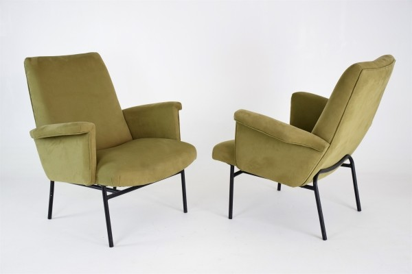 Pair of SK660 Armchairs by Pierre Guariche for Steiner, France, 1950's