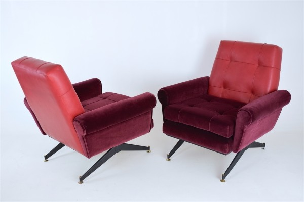 Pair of Mid-Century Italian Red Velvet & Leather Armchairs, 1950s