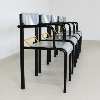 Set of 5 dinner chairs from the eighties by unknown designer for MH Stålmøbler Denmark