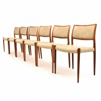 Danish rosewood dining chairs designed by Niels Otto Møller for J.L. Møller