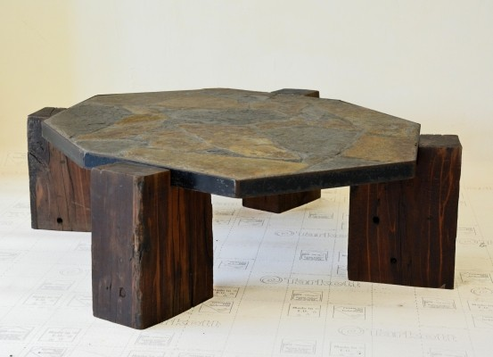 Brutalist coffee table from the fifties by unknown designer for unknown producer