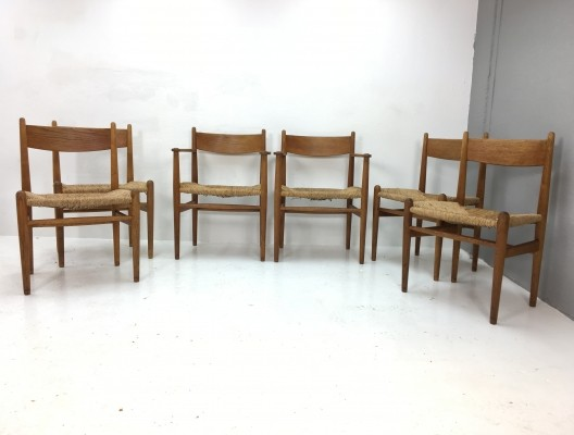 Set of 6 dinner chairs from the fifties by Hans Wegner for Carl Hansen & Son