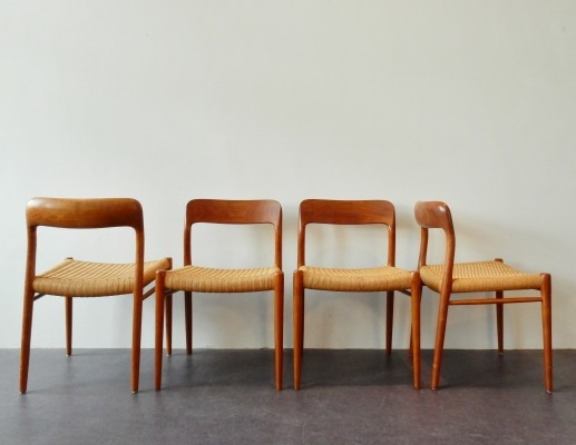 Set of 4 Model 75 dinner chairs from the sixties by Niels O. Møller for JL Møller Møbelfabrik