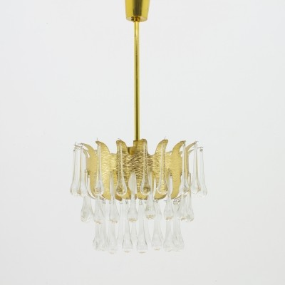 Ernst Palme Glass & Gilded Brass Chandelier, Germany 1960s, Palwa