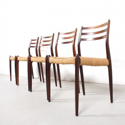 Set of 4 Model 78 dinner chairs from the sixties by Niels O. Møller for J. T. Møller Møbelfabrik