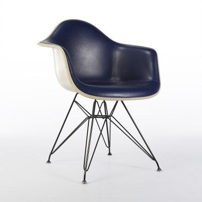 Original Alexander Girard Blue Upholstered Eames DAR Arm Shell Chair