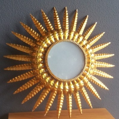 Gilt Metal Sunburst Ceiling Lamp with Frosted Glass, 1950s