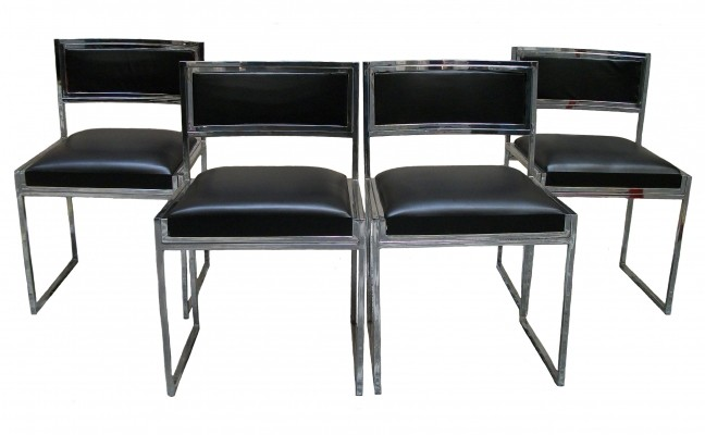 Chromed Steel Chairs by Willy Rizzo for Cidue, 1970s, Set of 4
