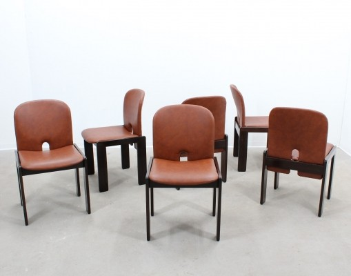 Set of 6 model 121 dinner chairs by Afra Scarpa & Tobia Scarpa for Cassina, 1960s