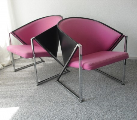 Set of 2 lounge chairs from the eighties by unknown designer for unknown producer
