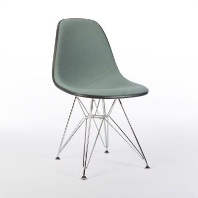 Original Mint Green Alexander Girard Upholstered Eames DSR Side Shell Chair