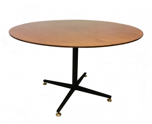Italian Black-Lacquered Metal & Wood Round Table, 1960s