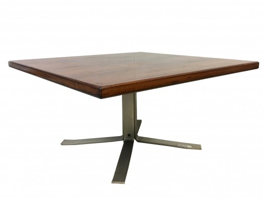 Rosewood table Moscatelli for Formanova 1970s, with steel foot