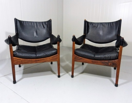 Pair of Rosewood / Palissander Modus lounge chairs by Kristian Vedel for Søren Willadsen, 1960s