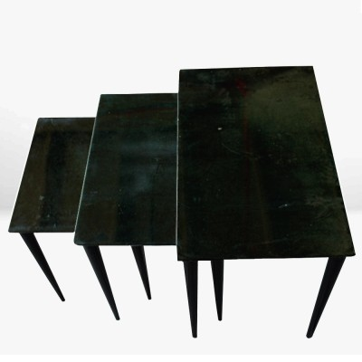 Emerald green Aldo Tura nesting tables
