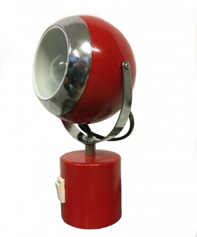 Red & chrome painted metal table lamp