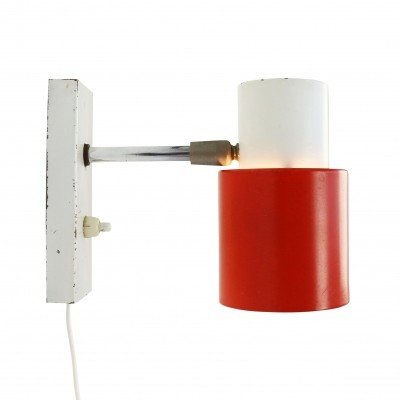 Vintage red & white metal wall light, 1960s