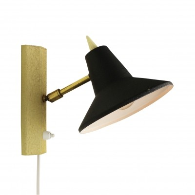 Vintage wall light in yellow & black, 1950s