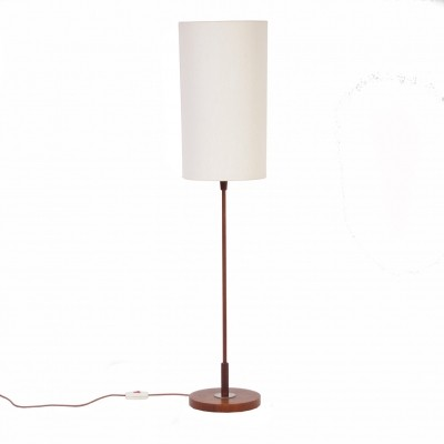 Vintage Floor Lamp with Cylindrical Shade & Teak Base – 1960s.