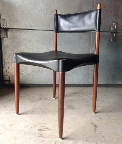 Rosewood & leatherette Danish dining chairs by Anders F. Jensen