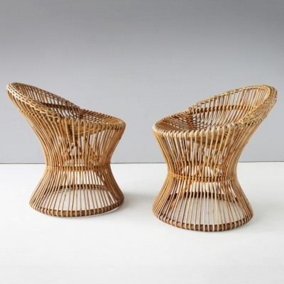 Pair of Rattan Italian Chairs from the fifties