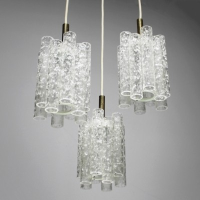 Brutalist Ice Glass Chandelier by Doria