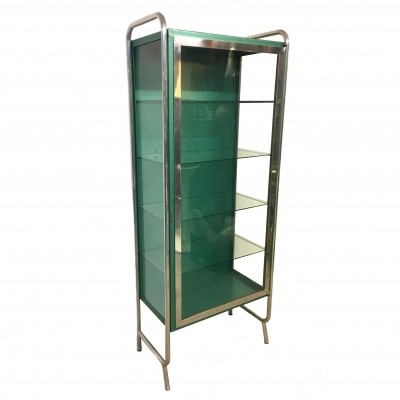 Green Medical Showcase Cabinet, 1960s