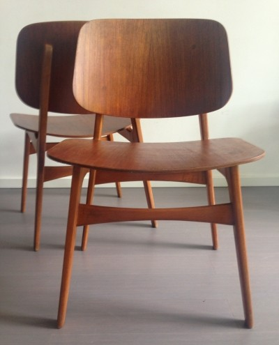 Set of 4 model 155 dinner chairs by Børge Mogensen for Soborg Mobler, 1950s