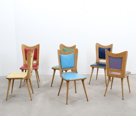Set of 6 Carlo Ratti dinner chairs, 1950s
