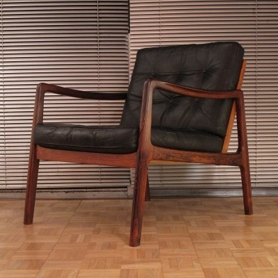 Ole Wanscher Model 119 Leather & Brazilian Rosewood Edition Lounge Chair
