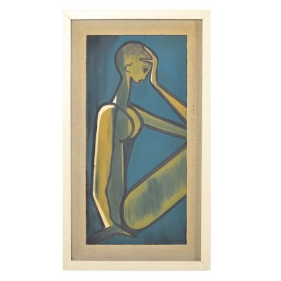 Oil Painting 'Female Nude' Expressionism 1960s.