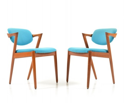 Pair of mid Century Teak Kai Kristiansen Dining Chairs, Model 42