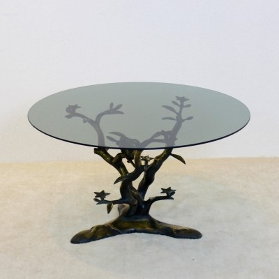 Sculptural Willy Daro Brass Tree LoveBirds Coffee Table