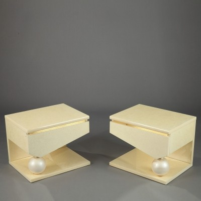 Pair of side tables by Jean Claude Mahey & Eric Maville, 1980s